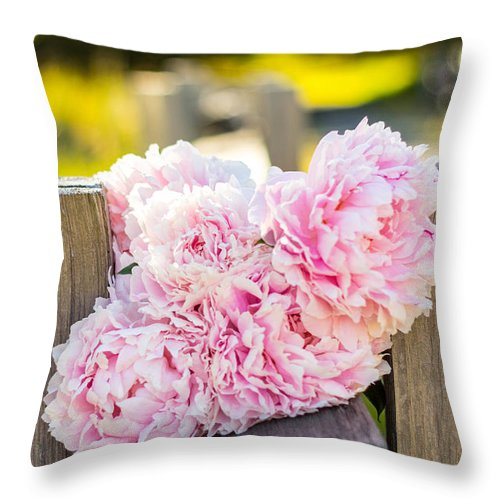 Pretty Pink Throw Pillow featuring the photograph A Pretty Gathering by Alanna DPhoto