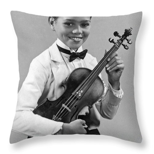 12-13 Years Throw Pillow featuring the photograph A Proud And Elegant Violinist by Underwood Archives