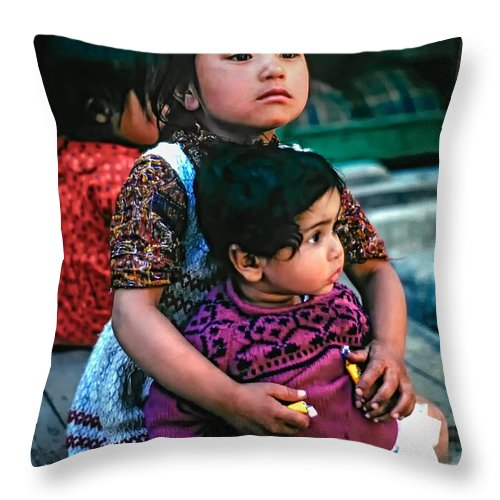 India Throw Pillow featuring the photograph A Proud Sister by Steve Harrington
