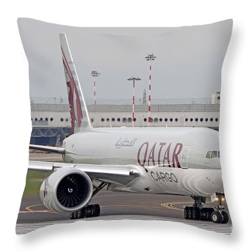 No People Throw Pillow featuring the photograph A Qatar Airways Cargo Boeing 777 by Luca Nicolotti