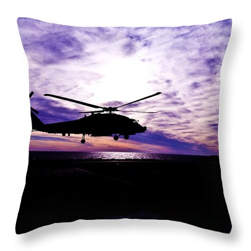 Helicopter Throw Pillow featuring the photograph A Quiet Watch by Mountain Dreams