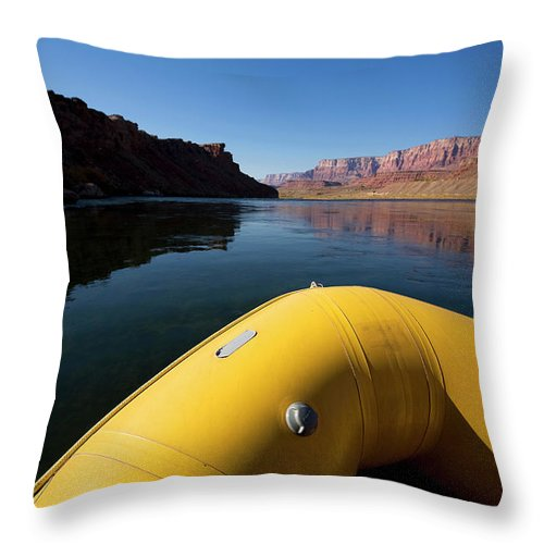 Adventure Throw Pillow featuring the photograph A Raft Floats Down A River by Corey Rich