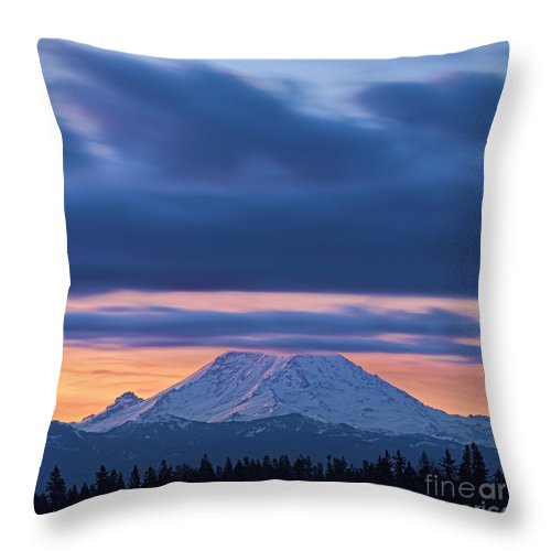 Landscape Throw Pillow featuring the photograph A Rainier Dawn by Don Hall