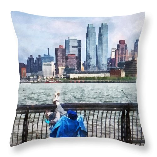 Fishing Throw Pillow featuring the photograph A Relaxing Day For Fishing by Susan Savad