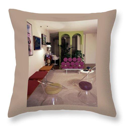 A Retro Living Room Throw Pillow