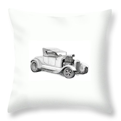 Hotrod Throw Pillow featuring the drawing A Rod by Rick Bennett