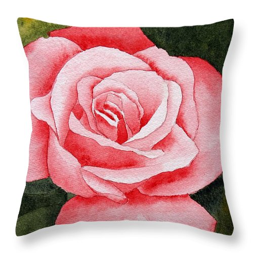 Watercolor Throw Pillow featuring the painting A Rose By Any Other Name by Brett Winn