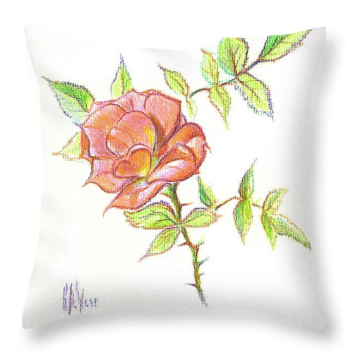 A Rose In Brigadoon Throw Pillow featuring the drawing A Rose In Brigadoon by Kip DeVore