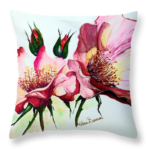 Flower Painting Throw Pillow featuring the painting A Rose Is A Rose by Karin Dawn Kelshall- Best