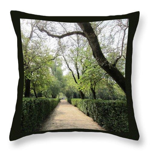 Queluz Palace Throw Pillow featuring the photograph A Royal Garden Stroll by Teresa Ruiz
