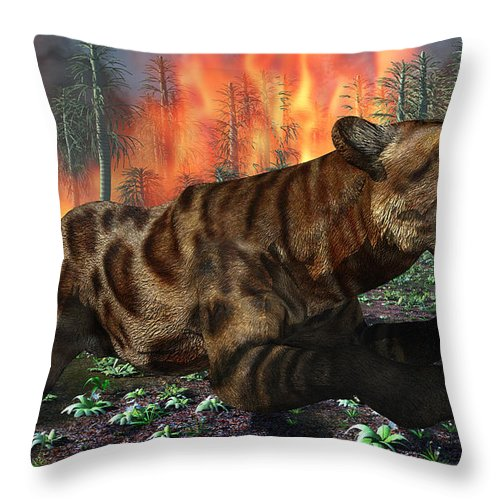 Horizontal Throw Pillow featuring the digital art A Saber-toothed Tiger Running Away by Mark Stevenson