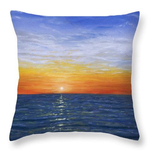 Sunset Throw Pillow featuring the pastel A Silent Moment by George Burr