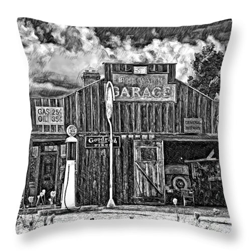 Landscape Throw Pillow featuring the photograph A Simpler Time Pencil Sketch Version by Steve Harrington