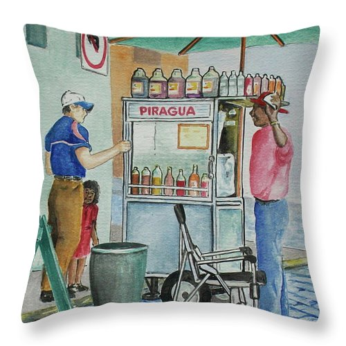 Piragua Throw Pillow featuring the painting A Snocone For A Child In San Juan Pr by Frank Hunter