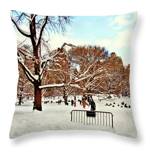 Owboards Throw Pillow featuring the photograph A Snow Day In Central Park by Madeline Ellis