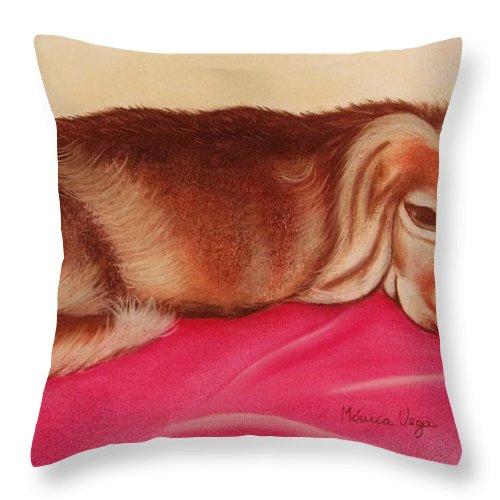 Cocker Throw Pillow featuring the pastel A Spaniel's Nap by Monica Vega