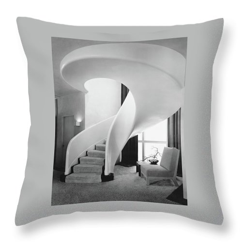 Interior Throw Pillow featuring the photograph A Spiral Staircase by Hedrich-Blessing