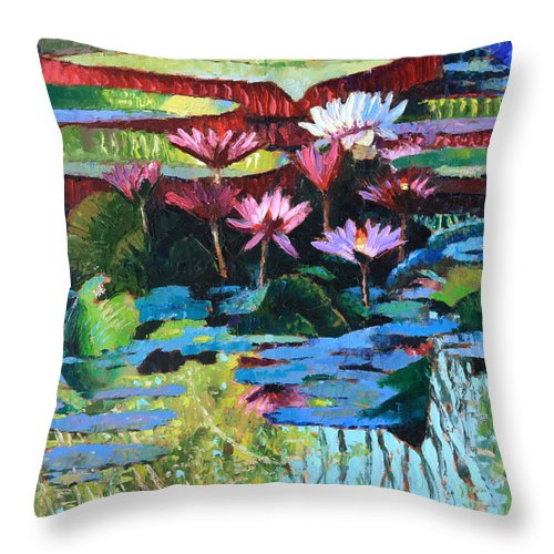 Garden Pond Throw Pillow featuring the painting A Splash of Sunlight by John Lautermilch