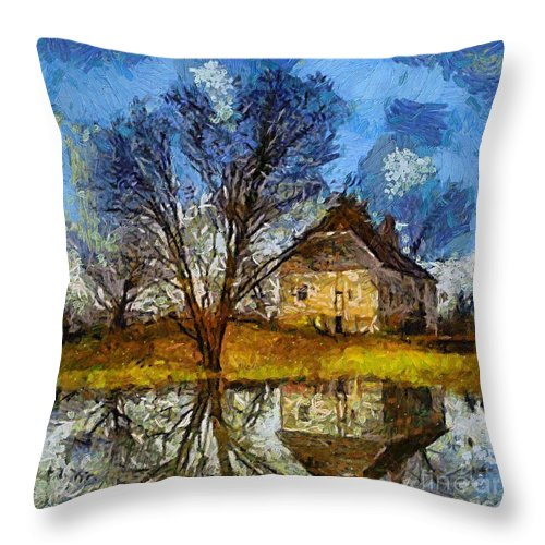 Landscapes Throw Pillow featuring the painting A Spring Flood by Dragica Micki Fortuna