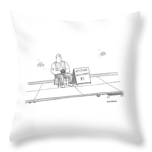 Captionless Throw Pillow featuring the drawing A Strong Man With A Tattoo Of An Anchor by Jason Patterson