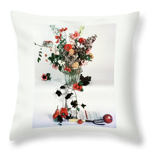 Nobody Throw Pillow featuring the photograph A Studio Shot Of A Vase Of Flowers And A Garden by Herbert Matter