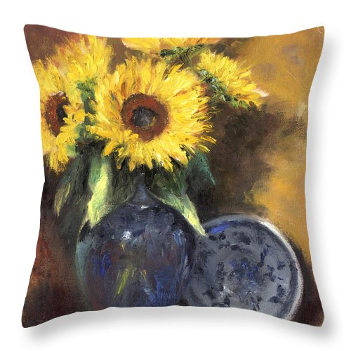 A Still Life Painting Of Sunflowers In A Dark Blue Vase Throw Pillow featuring the painting A Sunflower Smile by Terri Meyer