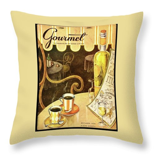 Illustration Throw Pillow featuring the photograph A Table At An Italian Cafe by Hilary Knight