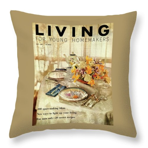 Dining Room Throw Pillow featuring the digital art A Table Setting With A Floral Centerpiece by Luis Lemus