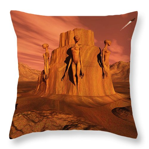 Horizontal Throw Pillow featuring the digital art A Team Of Explorers From Earth by Mark Stevenson