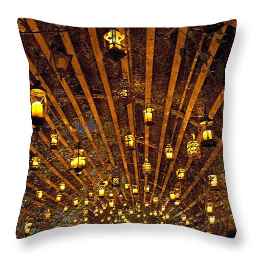 Candles Throw Pillow featuring the photograph A Thousand Candles - Tunnel Of Light by John Black