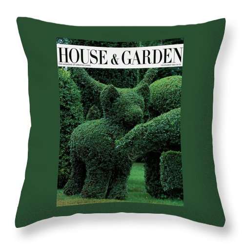 Animal Throw Pillow featuring the photograph A Topiary Bear In Alice Braytons Green Animals by Horst P. Horst