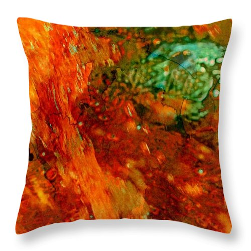 Abstract Throw Pillow featuring the photograph A Touch Of Green by Marcia Lee Jones