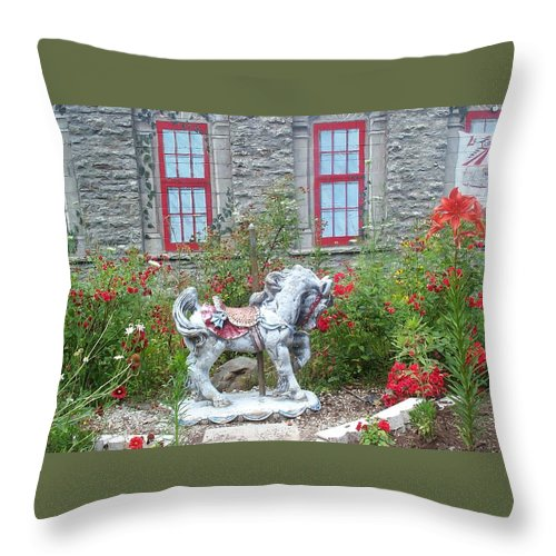 Carousel Pony Throw Pillow featuring the photograph A Treasure In A Garden by Barbara McDevitt
