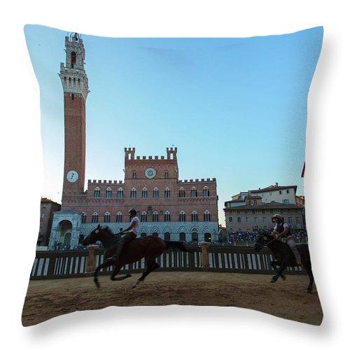 Horse Throw Pillow featuring the photograph A Trial Run Of The Famous Palio Di Siena by Tu Xa Ha Noi