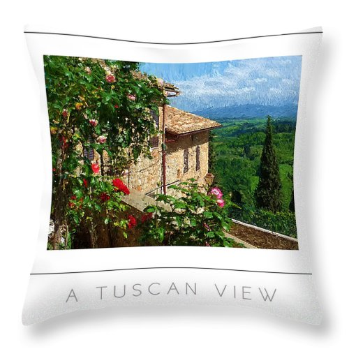Tuscany Throw Pillow featuring the photograph A Tuscan View Poster by Mike Nellums