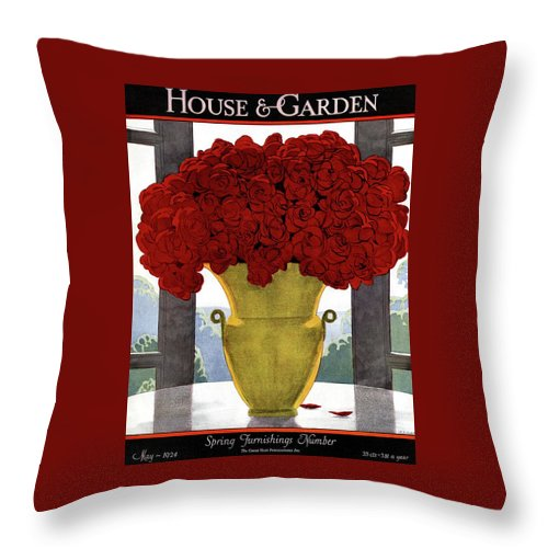 House And Garden Throw Pillow featuring the photograph A Vase With Red Roses by Andre E Marty