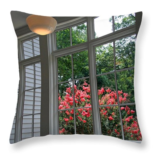 Black Throw Pillow featuring the photograph A View From Black Market by Cora Wandel