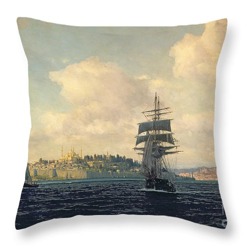 Boat Throw Pillow featuring the painting A View Of Constantinople by Michael Zeno Diemer