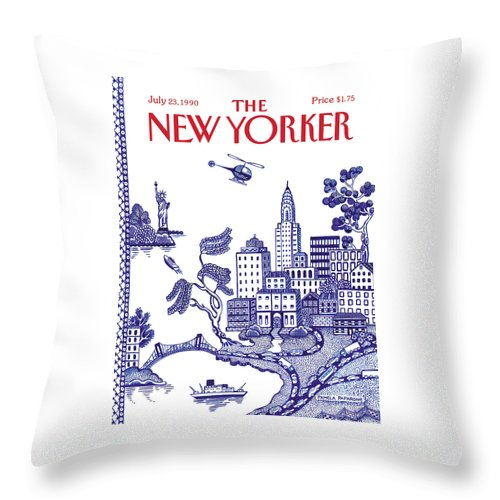 New York City Throw Pillow featuring the painting A View Of New York City by Pamela Paparone