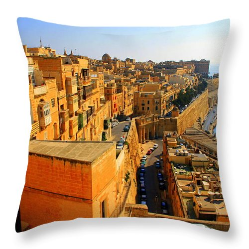 Valletta Throw Pillow featuring the photograph A View Of Valletta's Waterfront by Laurel Talabere