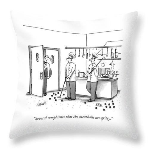 Chefs Throw Pillow featuring the drawing A Waiter Speaks To Two Chefs In A Kitchen Who by Tom Cheney