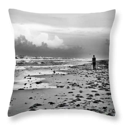 Beach Throw Pillow featuring the photograph A Walk At Dusk by Debbie Karnes