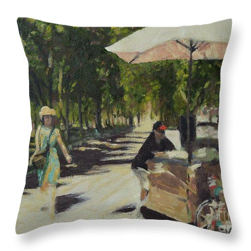 Saint Paul Throw Pillow featuring the painting A Walk In The Park by Laura Toth
