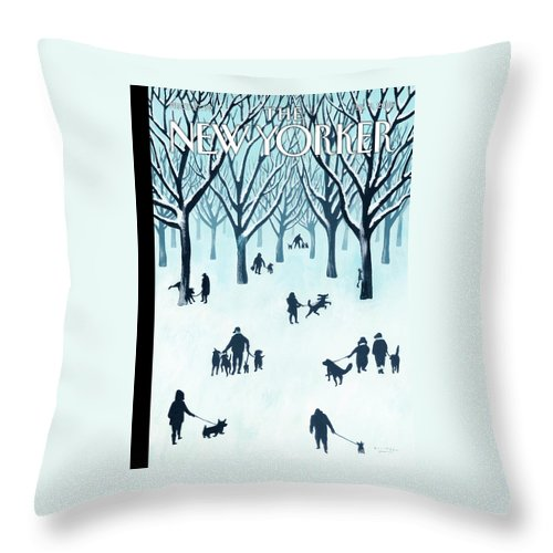 Snow Throw Pillow featuring the painting A Walk In The Snow by Mark Ulriksen