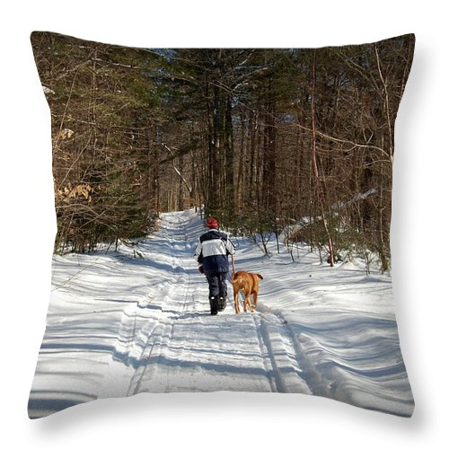 Nh Throw Pillow featuring the photograph A Walk In The Woods by Mim White