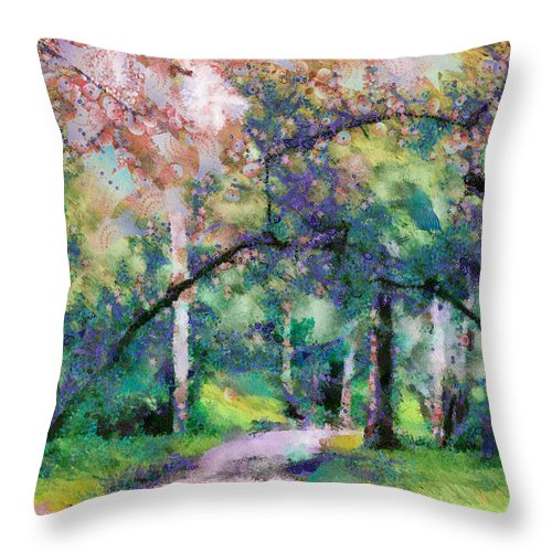 A Walk Inside The Rainbow Forest Throw Pillow featuring the mixed media A Walk Inside The Rainbow Forest by Priya Ghose