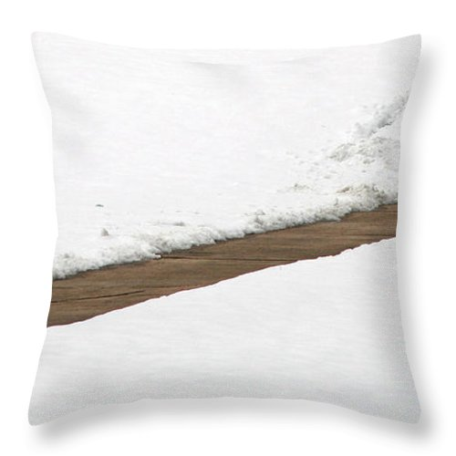 Snow Throw Pillow featuring the photograph A Walkway Through Snow by Cora Wandel
