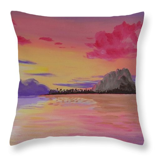 Tropics Throw Pillow featuring the painting A Warm Happy Place by Glenn Harden
