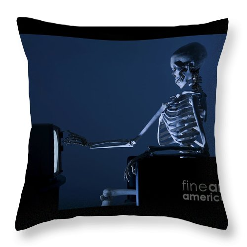 Skeleton Throw Pillow featuring the photograph A Wasted Life by Diane Diederich