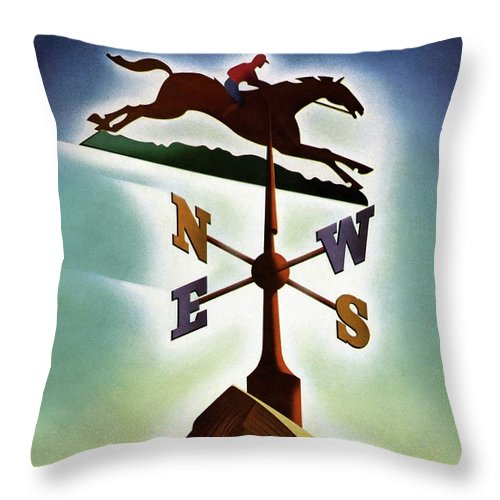 House And Garden Throw Pillow featuring the photograph A Weathervane With A Racehorse by Joseph Binder